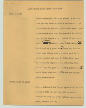 Primary view of object titled '[News Script: Aging blonde siren given prison term]'.