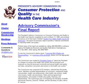 Primary view of object titled 'President's Advisory Commission on Consumer Protection and Quality in the Health Care Industry'.