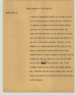 Primary view of object titled '[News Script: Woman charged in child beating]'.