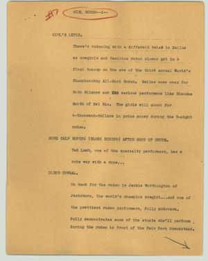 Primary view of object titled '[News Script: Girl rodeo]'.
