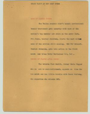 Primary view of object titled '[News Script: Stars tardy as net meet opens]'.