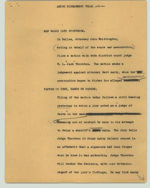 Primary view of object titled '[News Script: Ashby disbarment trial]'.