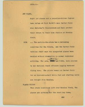 Primary view of object titled '[News Script: Jets]'.
