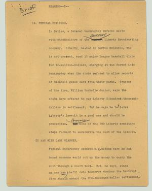 Primary view of object titled '[News Script: Breif - Hearing]'.
