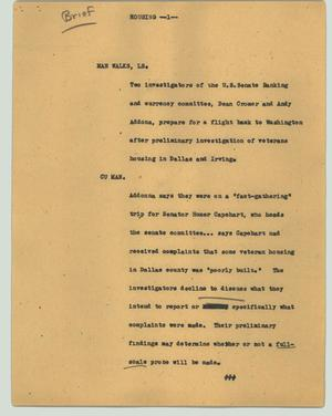 Primary view of object titled '[News Script: Housing]'.