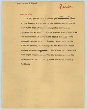 Primary view of object titled '[News Script: News briefs 1 (fire)]'.