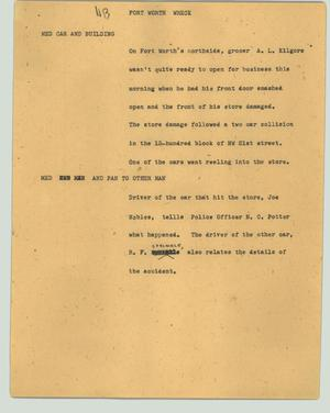 Primary view of object titled '[News Script: Fort Worth wreck]'.