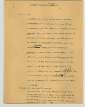 Primary view of object titled '[News Script: Liberty Broadcasting hearing]'.