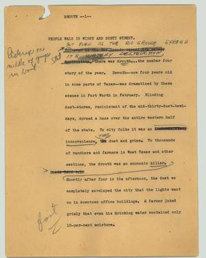 Primary view of object titled '[News Script: Drought]'.