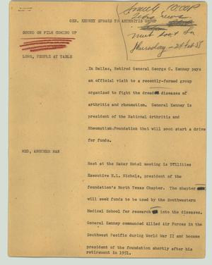 Primary view of object titled '[News Script: Gen. Kenney spraks to arthritis group]'.