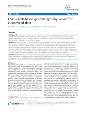 Primary view of object titled 'GSV: a web-based genome synteny viewer for customized data'.