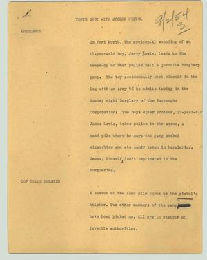Primary view of object titled '[News Script: Youth shot with stolen pistol]'.
