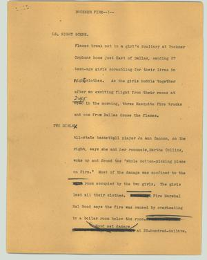 Primary view of object titled '[News Script: Buckner fire]'.