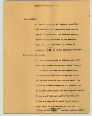 Primary view of object titled '[News Script: Operation gobbler]'.