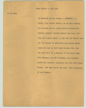 Primary view of object titled '[News Script: News briefs - Ice girl]'.