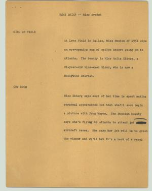 Primary view of object titled '[News Script: News briefs - Miss Sweden]'.