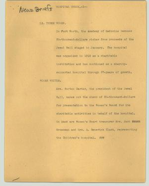 Primary view of object titled '[News Script: Hospital check]'.