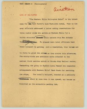 Primary view of object titled '[News Script: News brief (Helicopters)]'.