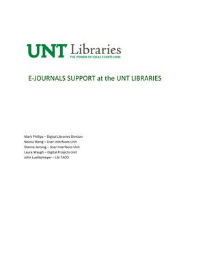 Primary view of object titled 'E-Journals Support at the UNT Libraries'.