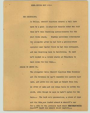 Primary view of object titled '[News Script: Bike-riding boy]'.