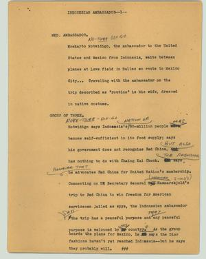 Primary view of object titled '[News Script: Indonesian ambassador]'.