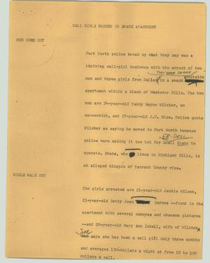 Primary view of object titled '[News Script: Call girls nabbed in swank apartment]'.