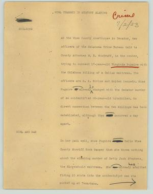 Primary view of object titled '[News Script: Girl charged in mystery slaying]'.