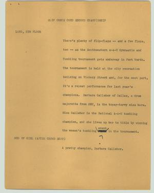 Primary view of object titled '[News Script: Slip costs coed second championship]'.
