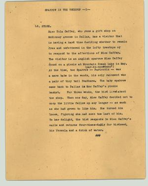 Primary view of object titled '[News Script: Sparrow in the treetop]'.