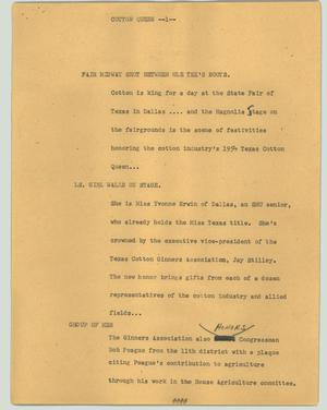 Primary view of object titled '[News Script: Cotton queen]'.