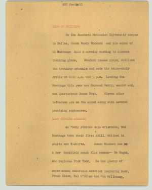 Primary view of object titled '[News Script: SMU football]'.