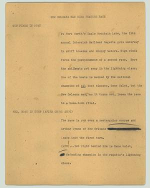 Primary view of object titled '[News Script: New Orleans man wins feature race]'.