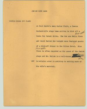 Primary view of object titled '[News Script: Jewish bond sale]'.