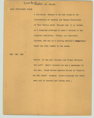 Primary view of object titled '[News Script: Accident in Dallas]'.