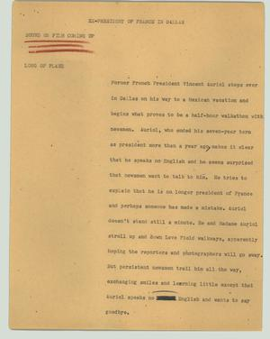 Primary view of object titled '[News Script: Ex-president of France in Dallas]'.
