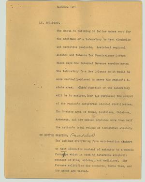 Primary view of object titled '[News Script: Alcohol]'.