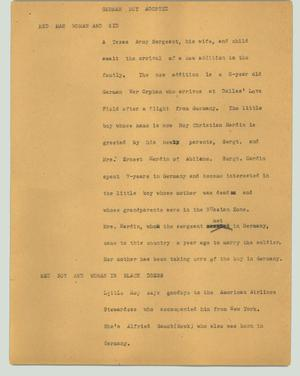 Primary view of object titled '[News Script: German boy adopted]'.