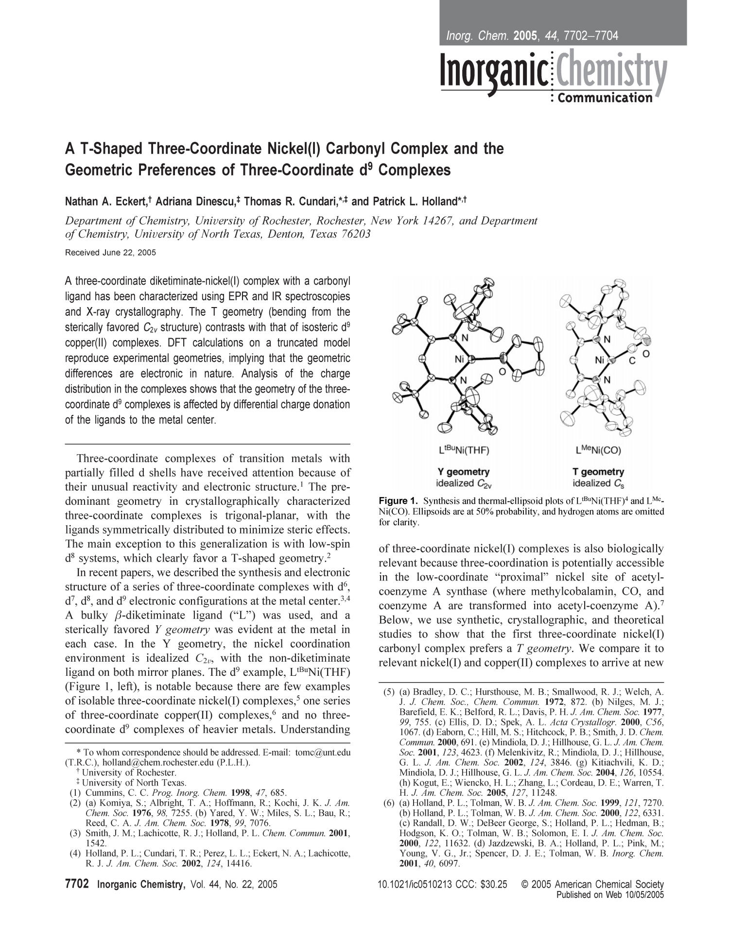 A T-Shaped Three-Coordinate Nickel(l) Carbonyl Complex and the Geometric Preferences of Three-Coordinate d9 Complexes                                                                                                      7702