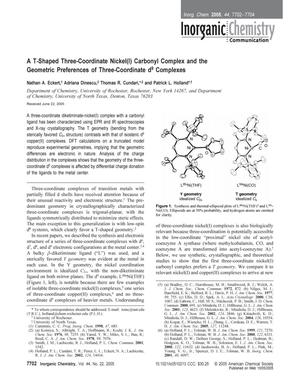 A T-Shaped Three-Coordinate Nickel(l) Carbonyl Complex and the Geometric Preferences of Three-Coordinate d9 Complexes