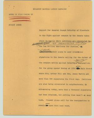 Primary view of object titled '[News Script: McCarthy backers launch campaign]'.