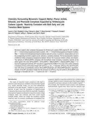 Chemistry Surrounding Monomeric Copper(l) Methyl, Phenyl, Anilido, Ethoxide, and Phenoxide Complexes Supported by N-Heterocyclic Carbene Ligands: Reactivity Consistent with Both Early and Late Transition Metal Systems