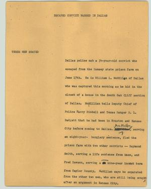 Primary view of object titled '[News Script: Escaped convict nabbed in Dallas]'.
