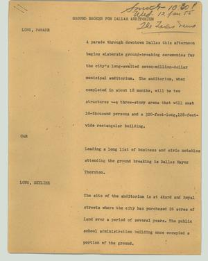 Primary view of object titled '[News Script: Ground broken for Dallas auditorium]'.