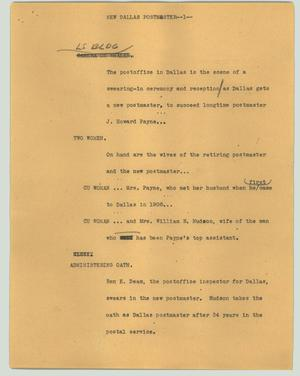 Primary view of object titled '[News Script: New Dallas postmaster]'.