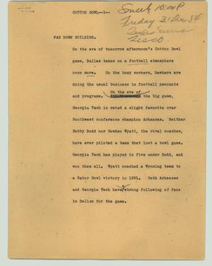 Primary view of object titled '[News Script: Cotton Bowl]'.