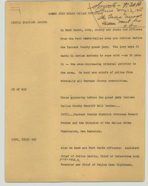 Primary view of object titled '[News Script: Grand jury hears Dallas officials]'.