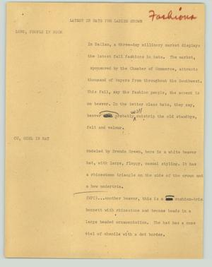 Primary view of object titled '[News Script: Latest in hats for ladies shown]'.