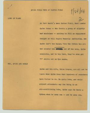 Primary view of object titled '[News Script: Spike finds Pete at Carter Field]'.