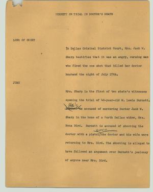 Primary view of object titled '[News Script: Burnett on trial in doctor's death]'.