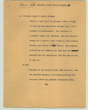 Primary view of object titled '[News Script: News breif - Arlington State Junior College]'.